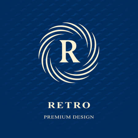 crest: Vector illustration of Monogram design elements, graceful template. Calligraphic Elegant line art logo design Letter emblem R identity for Restaurant, Royalty, Boutique, Cafe, Hotel, Heraldic, Jewelry, Fashion, Wine