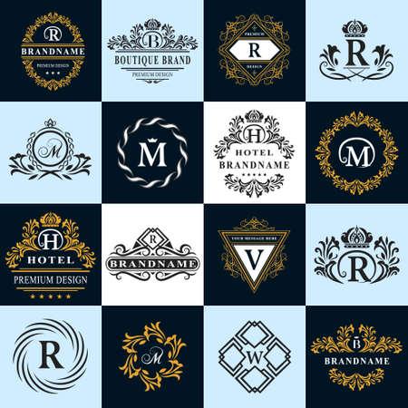 insignias: Ilustración vectorial de elementos de diseño del monograma, plantilla elegante. Logo elegante diseño caligráfico líneas. Carta signo emblema R, B, M, H, V, W de imágenes, tarjetas de visita, Boutique, Hotel, heráldico Vectores