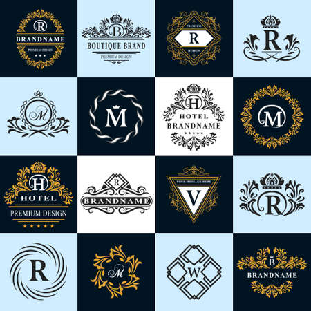 crest: Vector illustration of Monogram design elements, graceful template. Calligraphic elegant line art logo design. Letter emblem sign R, B, M, H, V, W for Royalty, business card, Boutique, Hotel, Heraldic Illustration
