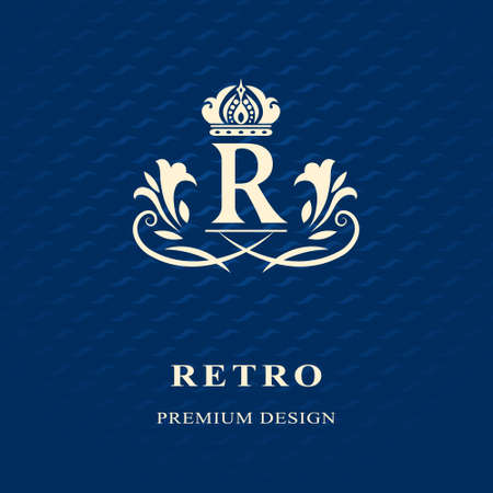 モノグラム デザイン要素、優雅なテンプレートのベクター イラストです。レストラン、ロイヤリティ、ブティック、カフェ、ホテル、ヘラルディッ