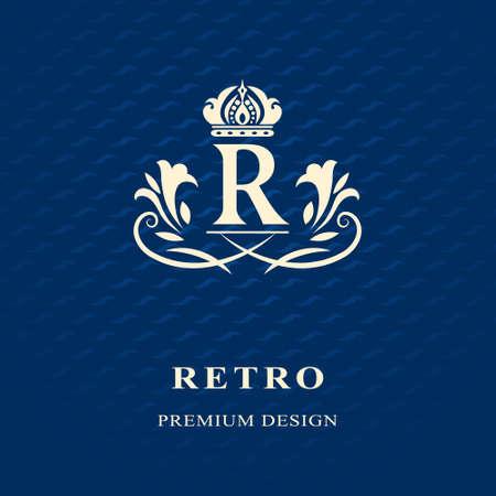 Vector illustratie van Monogram design elementen, sierlijke sjabloon. Kalligrafische Elegant lijntekeningen logo design Letter embleem R identiteit voor Restaurant, Royalty, Boutique, Cafe, Hotel, heraldisch, sieraden, mode, wijn Stockfoto - 48454136