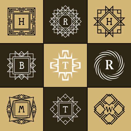 Vector illustratie van Geometrische Monogram logo. Abstract template in trendy mono lijn stijl. Letter embleem H, R, B, T, W, M Monochrome hipster. Minimal Design elementen voor logo, kenteken, banner, insignes, frame, label