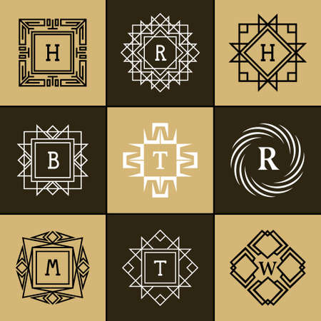 b w: Vector illustration of Geometric Monogram logo. Abstract template in trendy mono line style. Letter emblem H, R, B, T, W, M Monochrome hipster. Minimal Design elements for logo, badge, banner, insignias, frame, label