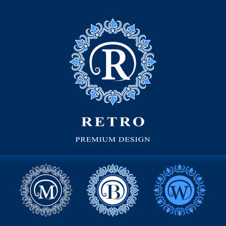 b w: Vector illustration of Monogram design elements, graceful template. Calligraphic elegant line art logo design. Letter emblem sign R, M, B, W for Royalty, business card, Boutique, Hotel, Heraldic, Cafe, Jewelry Illustration