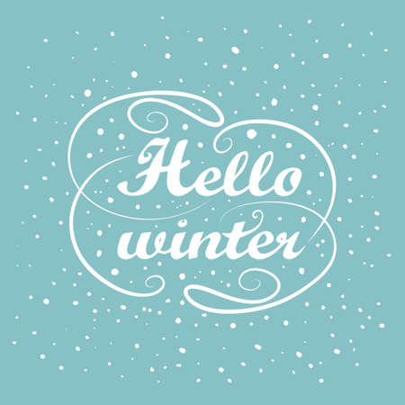 greeting season: Vector illustration of Hello winter Holiday greeting card design. Vintage white handwriting message. Abstract background. Hand lettering calligraphy text. Falling snow. Winter New year season label