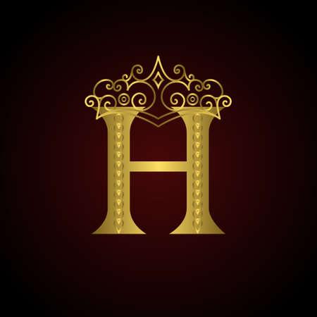 Vector illustratie van de Gouden embleem letter H met kroon. Monogram design elementen. Elegante lijntekeningen logo design. Zakelijke teken voor Restaurant, Royalty, Boutique, Cafe, Hotel, heraldisch, sieraden, mode
