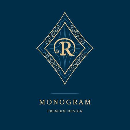 Vector illustration of Monogram design elements, graceful template. Calligraphic elegant line art logo design. Letter emblem sign R for Royalty, business card, Boutique, Hotel, Heraldic, Cafe, Jewelry Illustration