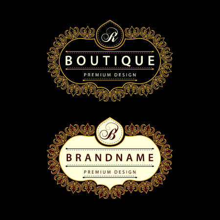 Vector illustratie van Monogram design elementen, sierlijke sjabloon. Kalligrafische Elegant lijntekeningen logo design Brief embleem B, R identiteit voor Restaurant, Royalty, Boutique, Cafe, Hotel, heraldisch, sieraden, mode Stock Illustratie
