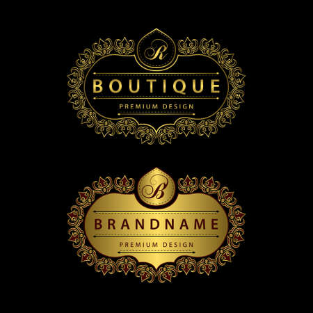 Vector illustration of Monogram design elements, graceful template. Calligraphic Elegant line art logo design Letter emblem B, R identity for Restaurant, Royalty, Boutique, Cafe, Hotel, Heraldic, Jewelry, Fashion