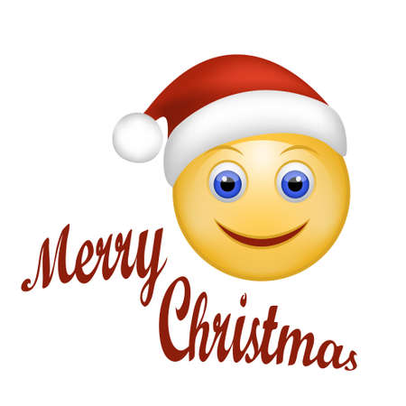 smiley: Vector illustration of Smiley Face happy Santa Claus. Face emoticon wearing Santa hat. Holidays Expression Cartoon Smiley  in red cap of Santa Claus. Merry Christmas  hand lettering. Web design.