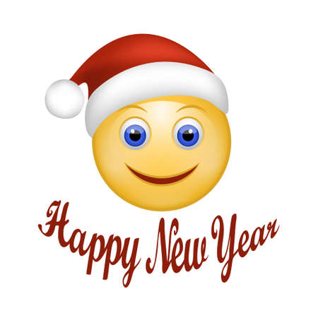 smiley: Vector illustration of Smiley Face happy Santa Claus. Face emoticon wearing Santa hat. Holidays Expression Cartoon Smiley  in red cap of Santa Claus. Happy New Year hand lettering. Web design Illustration