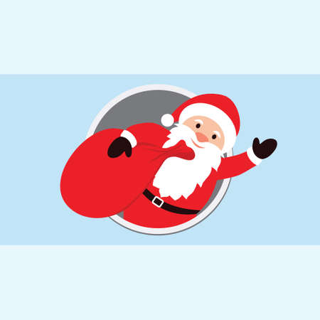 climbed: Vector illustration of Santa Claus Cartoon Character with a raised right hand with gifts. Santa Claus climbed out from window. Empty space for text. Christmas elements Useful For Your holidays Design