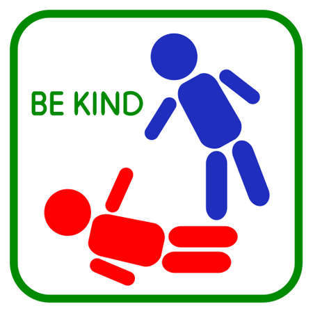 empathy: Vector illustration of Be kind. Sign Help. Graphic design love, human touch, support, care, kindness, empathy, compassion. Icon Help on a white background Illustration