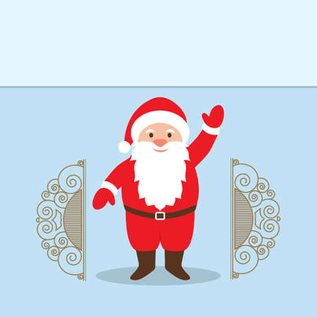 klaus: Vector illustration of Santa Claus Cartoon Character with a raised right hand standing at the gate.  Decorative Christmas Background. Empty space for text Illustration
