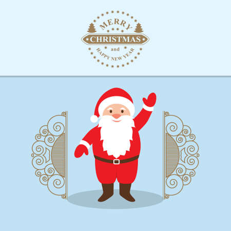 klaus: Vector illustration of Santa Claus Cartoon Character with a raised right hand standing at the gate.  Decorative Christmas Background. Merry Christmas and happy New year Illustration