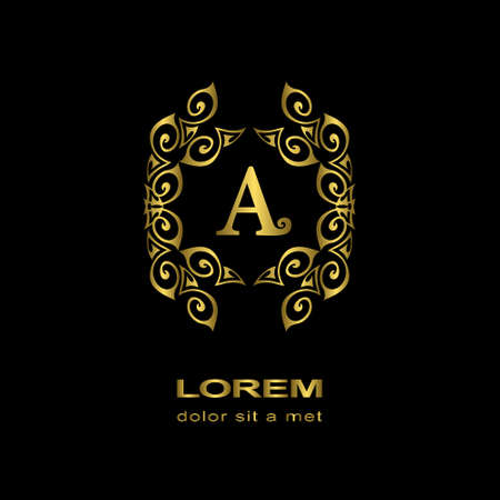 gold ornaments: Vector illustration of Monogram design elements, graceful template. Calligraphic elegant line art logo design. Letter emblem sign A for Royalty, business card, Boutique, Hotel, Heraldic, Cafe, Jewelry
