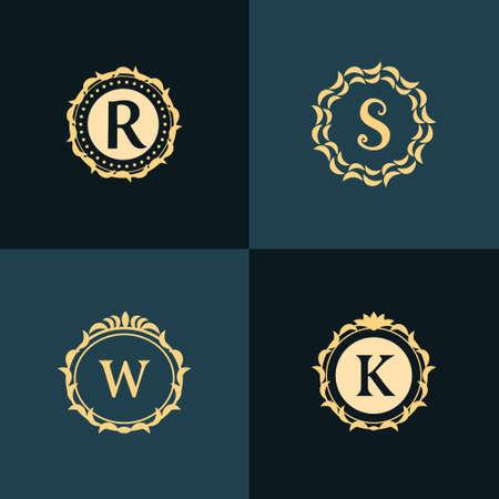 Vector illustration of Monogram design elements, graceful template. Elegant line art logo design. Emblem Letter R, S, W, K. Retro Vintage Insignia or Logotype. Business sign, identity, label, badge, Cafe, Hotel