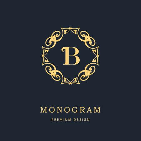 beautiful letters: Vector illustration of Monogram design elements, graceful template. Calligraphic elegant line art logo design. Letter emblem sign B for Royalty, business card, Boutique, Hotel, Heraldic, Cafe, Jewelry