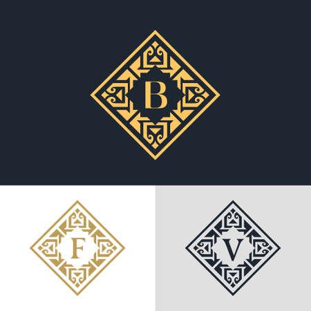 illustratie van Monogram design elementen, sierlijke sjabloon. Kalligrafische elegante lijn art design. Brief embleem teken B, F, V voor Royalty, visitekaartje, Boutique, Hotel, heraldisch, Sieraden Stock Illustratie