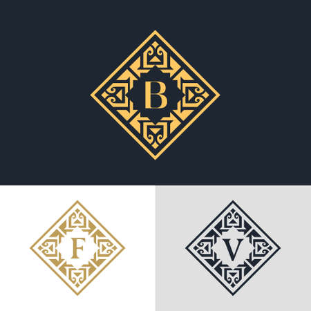 illustration of Monogram design elements, graceful template. Calligraphic elegant line art design. Letter emblem sign B, F, V for Royalty, business card, Boutique, Hotel, Heraldic, Jewelry Ilustração