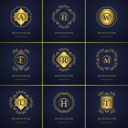 boutique hotel: ilustración de los elementos del diseño del monograma, elegante plantilla. El diseño del arte elegante línea caligráfica. emblema Carta de imágenes, tarjetas de visita, Boutique Hotel Vectores