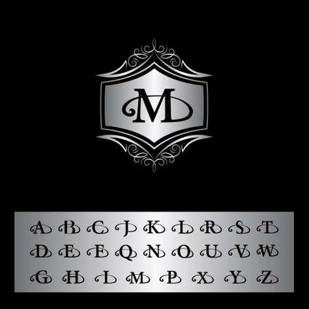 old letter: illustration of Monogram design elements, English letters. Elegant line art design. Silver emblem M. Business sign, identity for Restaurant, Royalty, Boutique, Cafe, Hotel, Heraldic, Jewelry Illustration