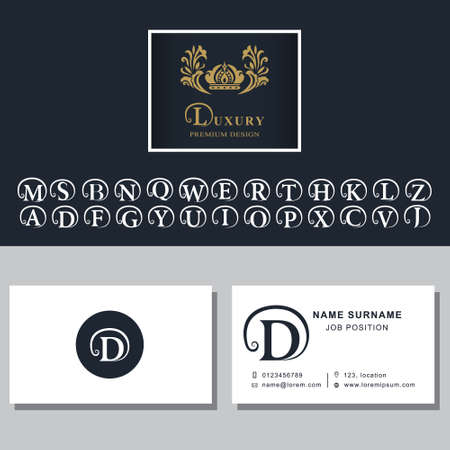 c r t: illustration of Business card template. Letters design for business cards. Abstract modern monogram design elements. Letter D, A, B, M, W, R, T, K, L, C, S, F, P, V, E, Q, H, G, N, J, Z, Y