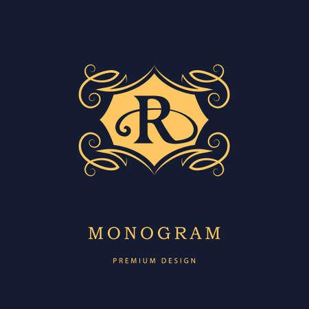 real business: illustration of Monogram design elements, graceful template. Calligraphic elegant line art design. Letter emblem sign R for Royalty, business card, Boutique, Hotel, Heraldic, Cafe, Jewelry