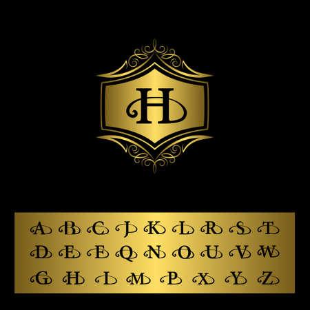 モノグラム デザイン要素、英語の文字のイラストです。エレガントなラインのアート デザイン。金のエンブレム H. ビジネス サイン、レストラン、  イラスト・ベクター素材