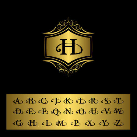 illustration of Monogram design elements, English letters. Elegant line art design. Gold emblem H. Business sign, identity for Restaurant, Royalty, Boutique, Cafe, Hotel, Heraldic, Jewelry Çizim