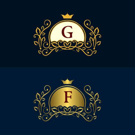 graceful: Vector illustration of Monogram design elements, graceful template. Illustration