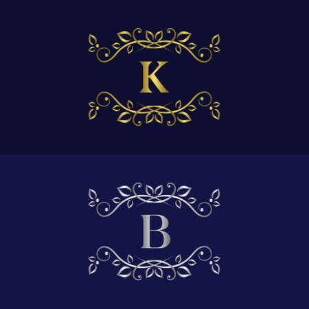 graceful: Vector illustration of Monogram design elements graceful template. Illustration