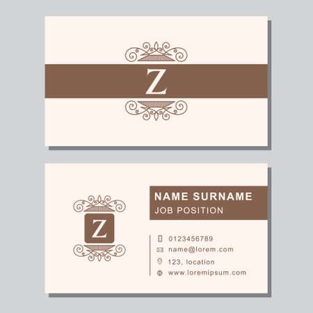 Vector illustration of Business card template with abstract monogram design elements.
