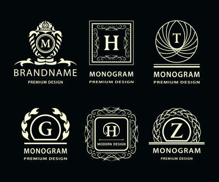 m hotel: illustration of Monogram design elements graceful template. Calligraphic elegant line art icon design. Letter emblem H, Z, G, M, T for Royalty, business card, Boutique, Hotel, Heraldic, Jewelry