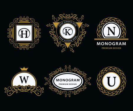 u k: Vector illustration of Monogram design elements graceful template. Calligraphic elegant line art icon design. Letter emblem H, K, N, W, U for Royalty, business card, Boutique, Hotel, Heraldic, Jewelry Illustration