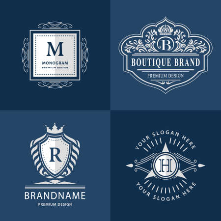 m hotel: illustration of Monogram design elements graceful template. Calligraphic elegant line art icon design. Letter emblem H, B, M, R for Royalty, business card, Boutique, Hotel, Heraldic, Jewelry