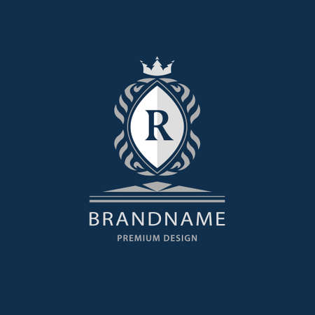 illustration of Luxury King place, boutique brand, real estate, property, royalty, crown icon, crest icon. Elegant line art design, graceful template. Letter emblem R