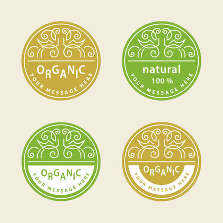 abstract food: illustration of Abstract icon design template. Plant web Icon Isolated On White Background. Graphic Design eco symbols in circles. Creative Ecology Organic food concept. Monograms nature symbols Illustration