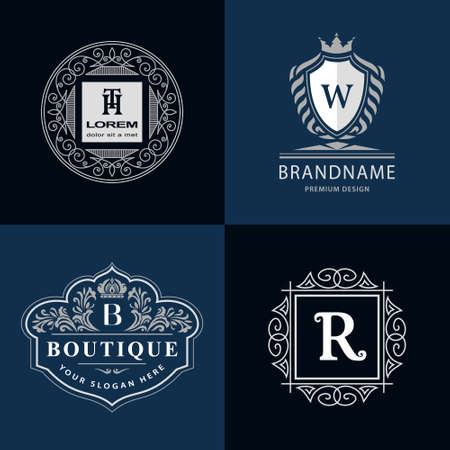 b w: illustration of Monogram design elements graceful template. Calligraphic elegant line art icon design. Letter emblem H, T, B, W, R for Royalty, business card, Boutique, Hotel, Heraldic, Jewelry
