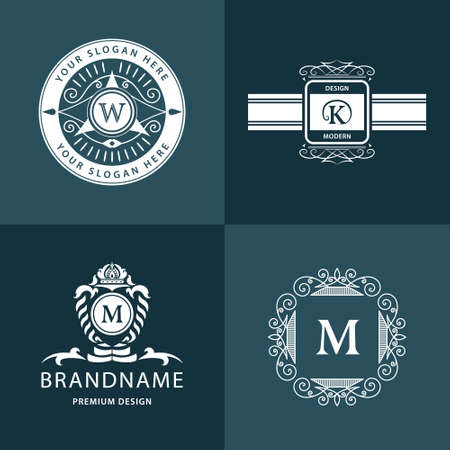 m hotel: illustration of Monogram design elements graceful template. Calligraphic elegant line art icon design. Letter emblem M, K, W, for Royalty, business card, Boutique, Hotel, Heraldic, Jewelry