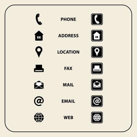 Vector illustration de Set d'icônes web pour les cartes d'affaires, des finances et de la communication. symboles polyvalents pour la conception