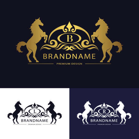 Vector illustration of Monogram emblem template with horse. Graceful Luxury design. Calligraphic letter B, L, R Business sign for hotel, restaurant, boutique, invitation, jewellery, royalty brand