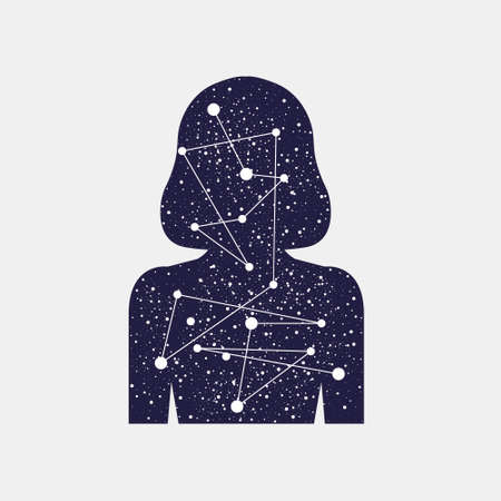 world receiver: Vector illustration of Icon women. Inner world of man. Universe, connection of the planets. Stellar scattering. Silhouette of a girl. Mind and senses information