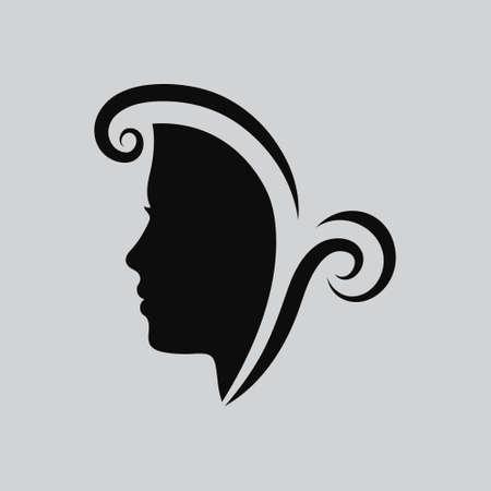 Vektor-Illustration der Frau ins Gesicht. Profil schöne Frau. Portrait eines Mädchens. Abstract Design-Vorlage für einen Schönheitssalon, Massage, Kosmetik- und Wellnessbereich, Friseur, internationale Frauentag