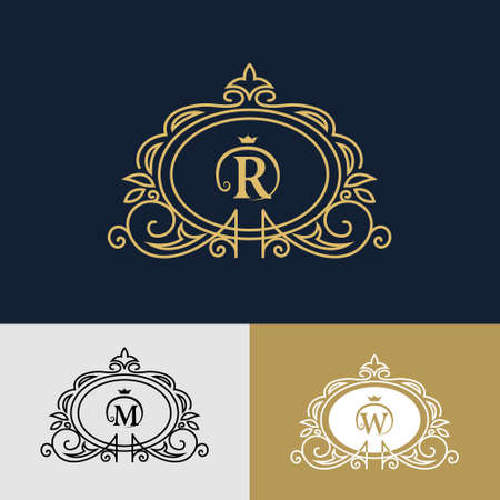m hotel: Vector illustration of Monogram design elements, graceful template. Elegant line art design. Letter R, M, W. Business sign, identity for Restaurant, Royalty, Boutique, Cafe, Hotel, Heraldic, Jewelry, Fashion