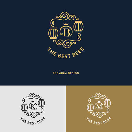 beer house: Vector illustration of Line graphics monogram. Flourishes frame ornament template with barrel for labels, emblems for beer house, bar, pub, brewing company, brewery, tavern. Letter B, K, M