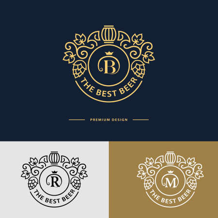 beer house: Vector illustration of Line graphics monogram. Flourishes frame ornament template with hops and leaves  for labels, emblems for beer house, bar, pub, brewing company, brewery, tavern Illustration