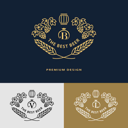 Vector illustration of Line graphics monogram. Flourishes frame ornament template with hops and leaves  for labels, emblems for beer house, bar, pub, brewing company, brewery, tavern Illustration