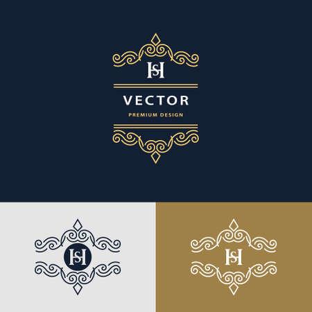 sh: Vector illustration of Line graphics monogram. Elegant art logo design. Letter SH. Graceful template. Business sign, identity for Restaurant, Royalty, Boutique, Cafe, Hotel, Heraldic, Jewelry, Fashion. Vector elements