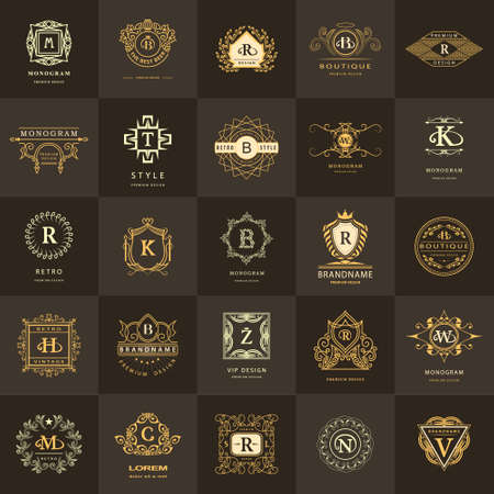Vector illustration of Line graphics monogram. Vintage Logos Design Templates Set. Business sign Letter emblem. Vector logotypes elements collection, Icons Symbols, Retro Labels, Badges, Silhouettes. Premium Collection Çizim